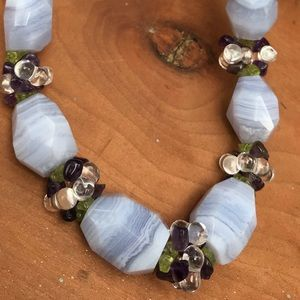 """Blue Lace Agate Amethyst Peridot 14""""  Necklace"""